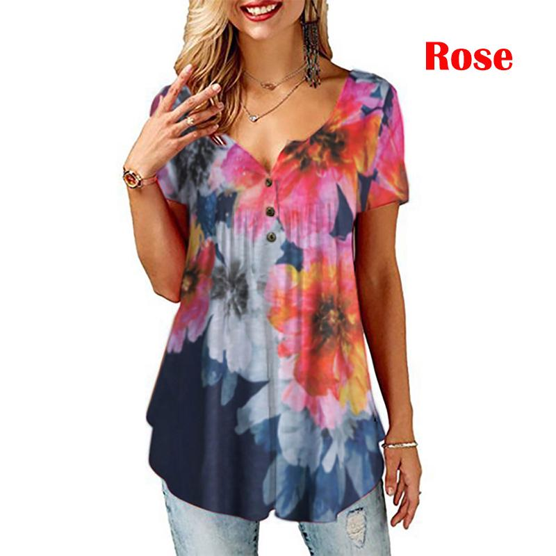 Women 3//4 Sleeve Floral Tops Ladies Tunic Casual Loose T-Shirt Blouse Plus Size