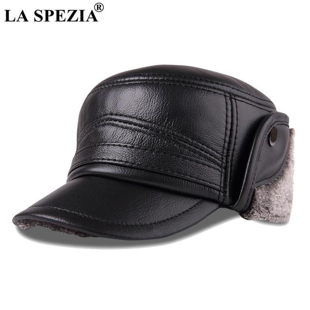 Bombardero sombreros cuero invierno solapa tapa hombres negro ... ca7c2397617