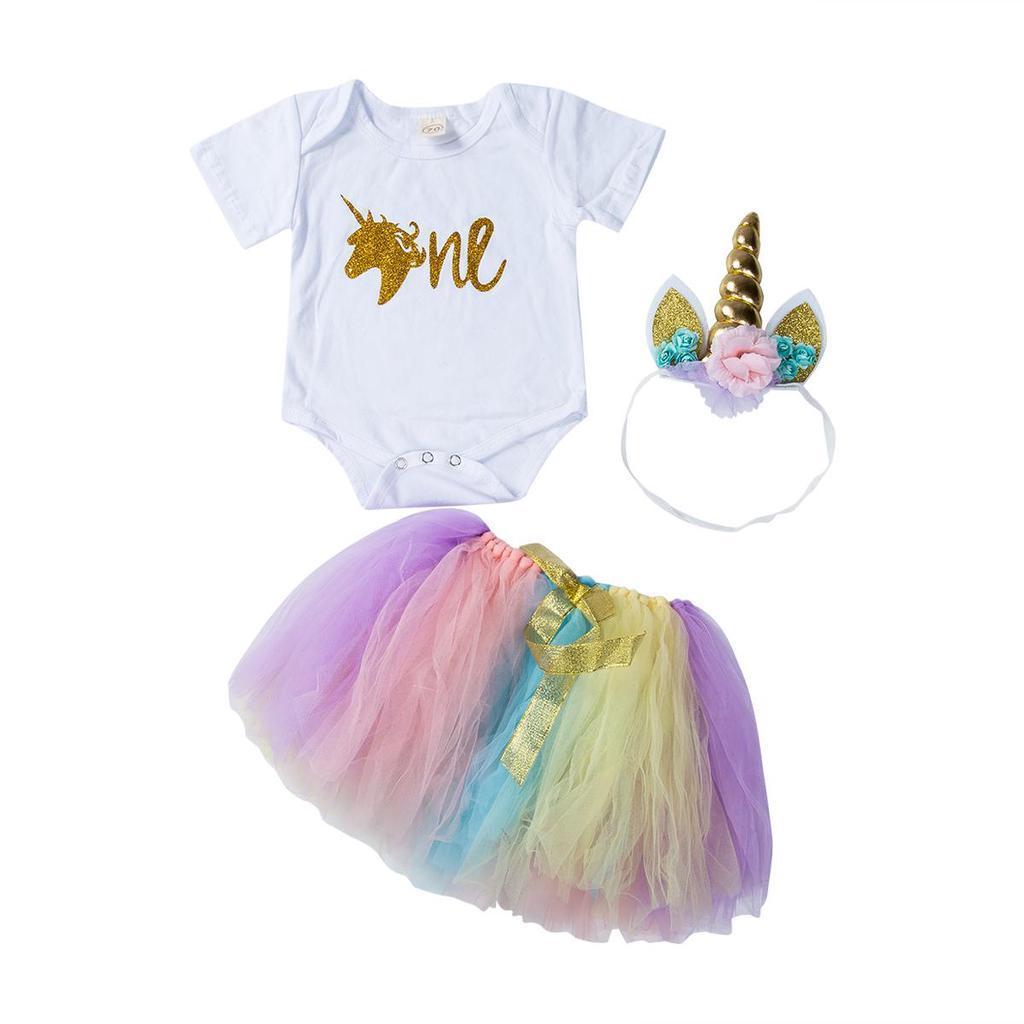 3PCS Baby Girl 1st Birthday Outfit Party Unicorn Romper Cake Smash Tutu Dress