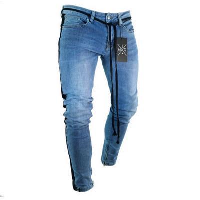 Los hombres de moda algodón Casual agujero Jeans Sexy Pantalones Fit Slim  moda Blue Jeans hombre 93c6cbe3915