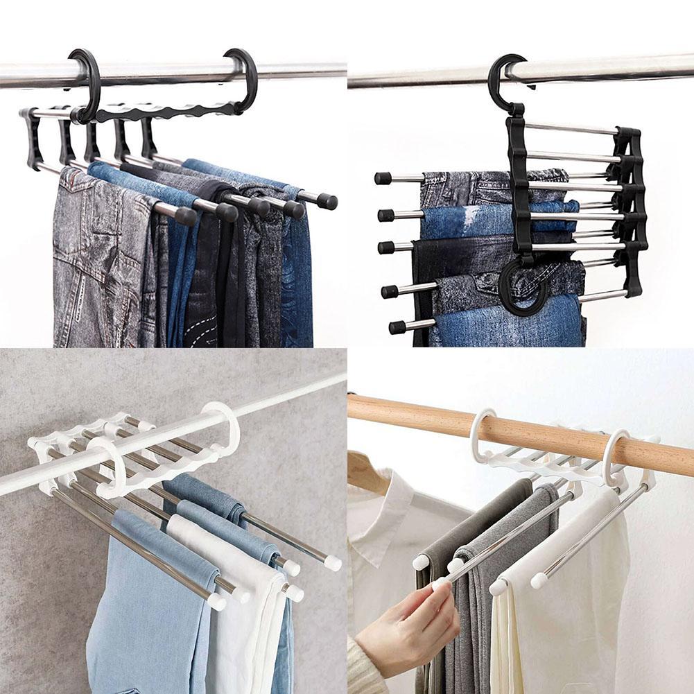 Details about  /5 Layer Clothes Hanger Cabinet Hanging Pants Shelf Cloth Organizer Storage Rack