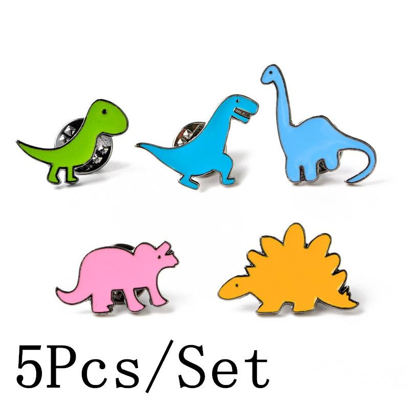 Brooches Lnrrabc Dinosaur Series Drip Brooches Delicate Cartoon Jewelry Scarf Lapel Brooch Pin Dress Decoration Clothing Accessories
