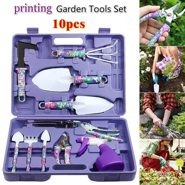 Rainyk 10 Pieces Garden Tool Set/—Stainless Steel Heavy Duty Gardening Tools /—Gardening Gifts for Women Men