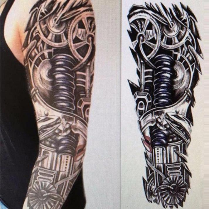 Ramię Robota Wodoodporny Tymczasowy Tatuaż Mechaniczny Rękaw Fałszywy Tatuaż Naklejki