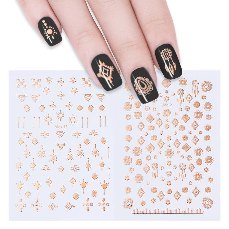 Oro metálico uñas Tribal arte adhesivo transferencia pegatinas ...