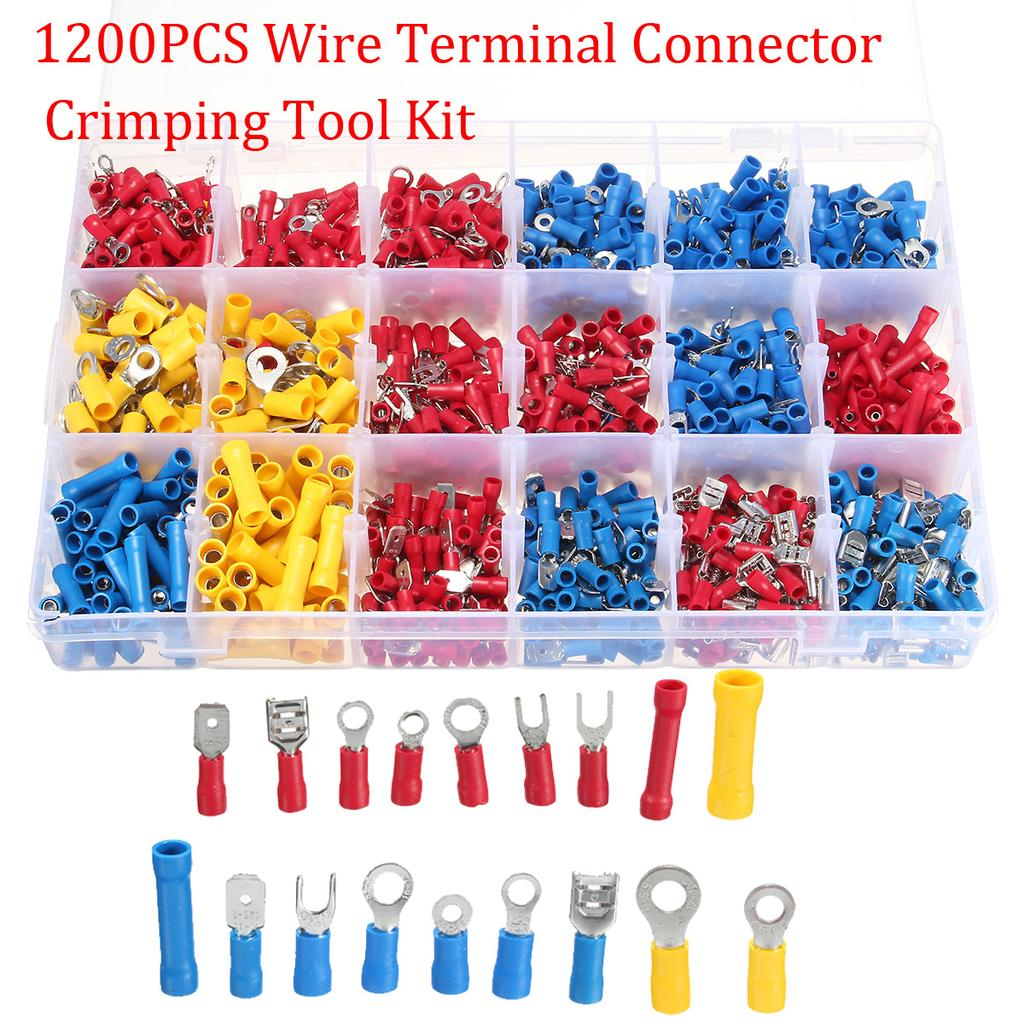 Set of 1200 X Assorted Insulated Electrical Wire Terminal Crimp Connectors Spade