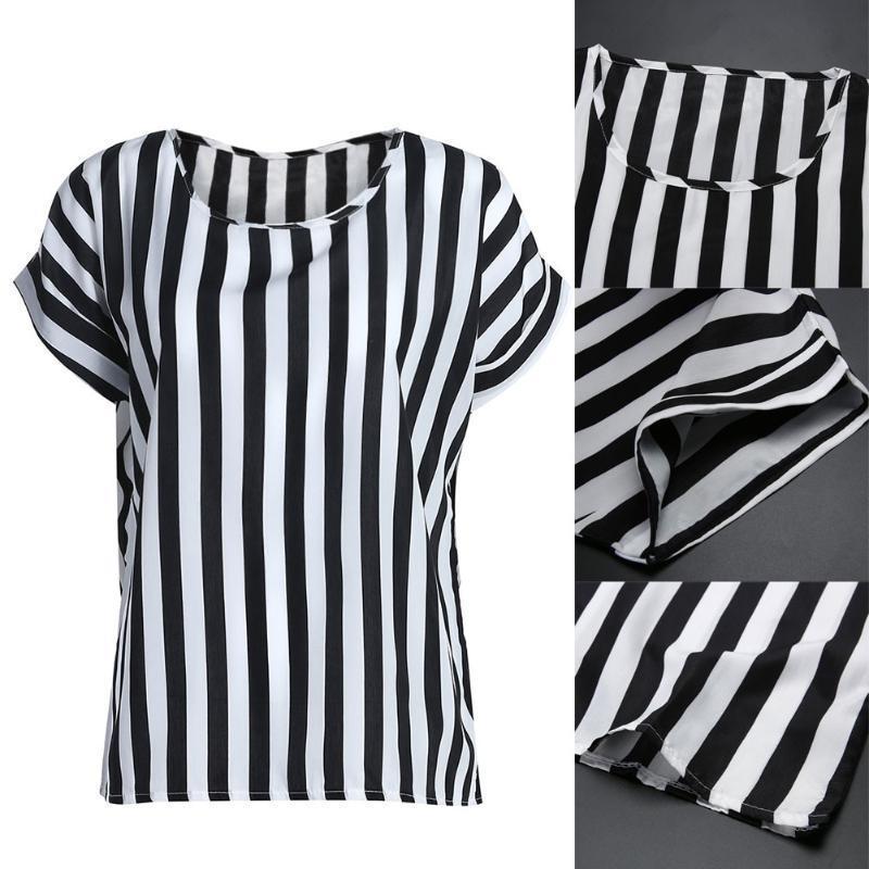 Полосатая легкая футболка для женщин. Материал: шифон фото