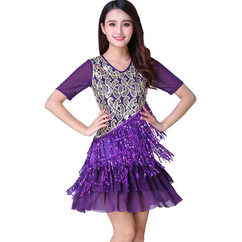 Salón de baile Rumba Latina Salsa vestidos de mujer manga corta ...