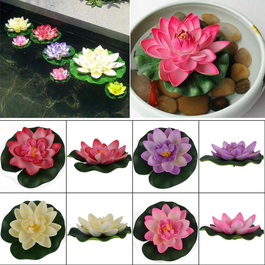 Artificial Lotus Floating Water Lily Flower Plants Home Decor Pond