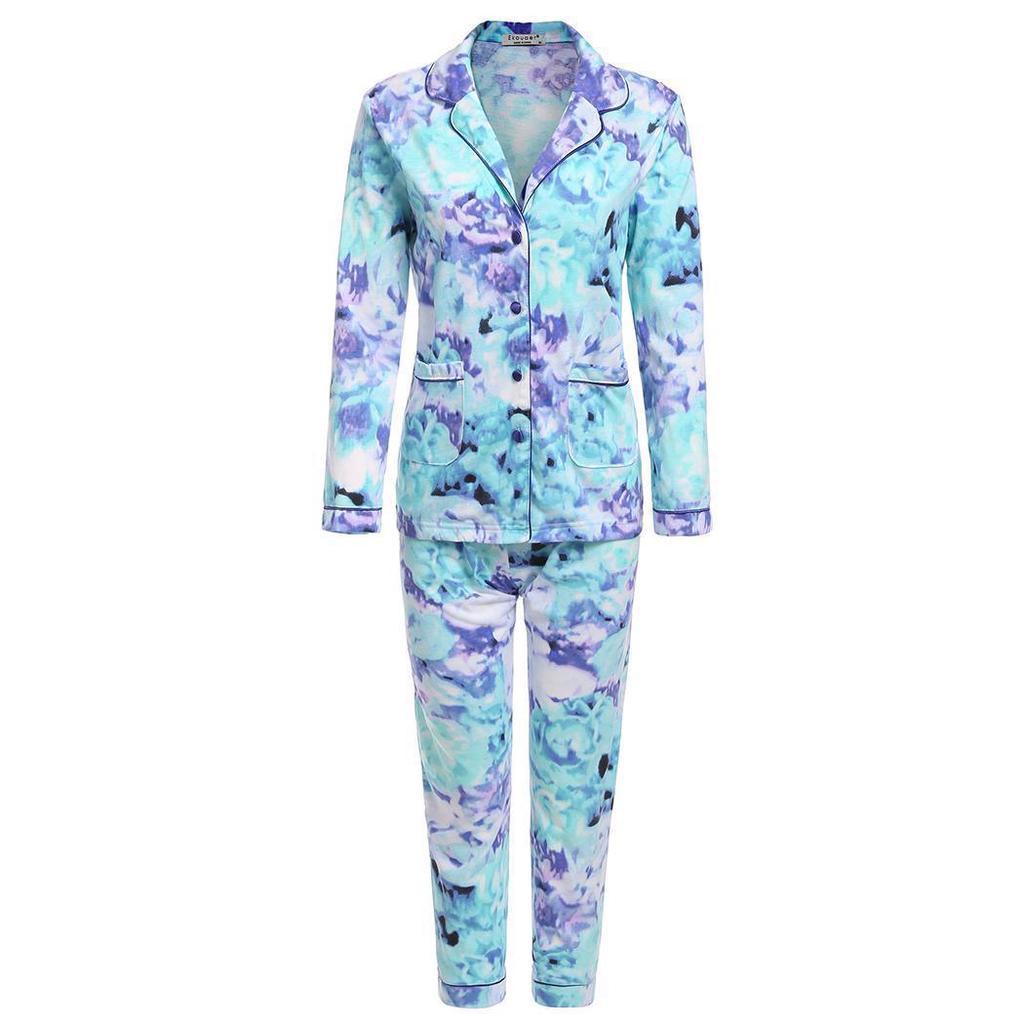 cea8d6e4f Pijamas de mujer regalo Set camisa con botones de manga larga ...