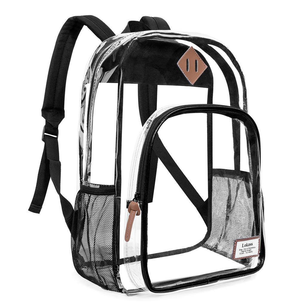 Heavy Duty Clear Bookbag Large Backpack Women and Men Stadium Approved Transparent Bag