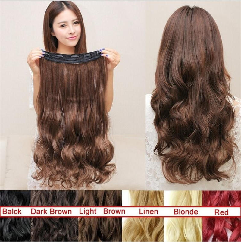Women Long Curly Clip In Hair Extensions One Piece 24 Inches 60cm