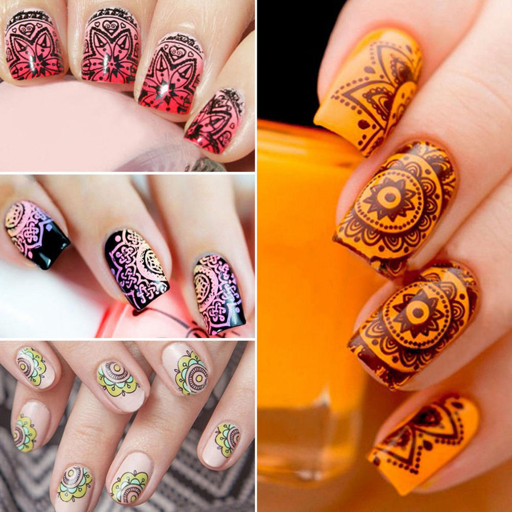 Nail Art Stamping Template Stamp Scraper Set Kit DIY Nail Tool-buy ...