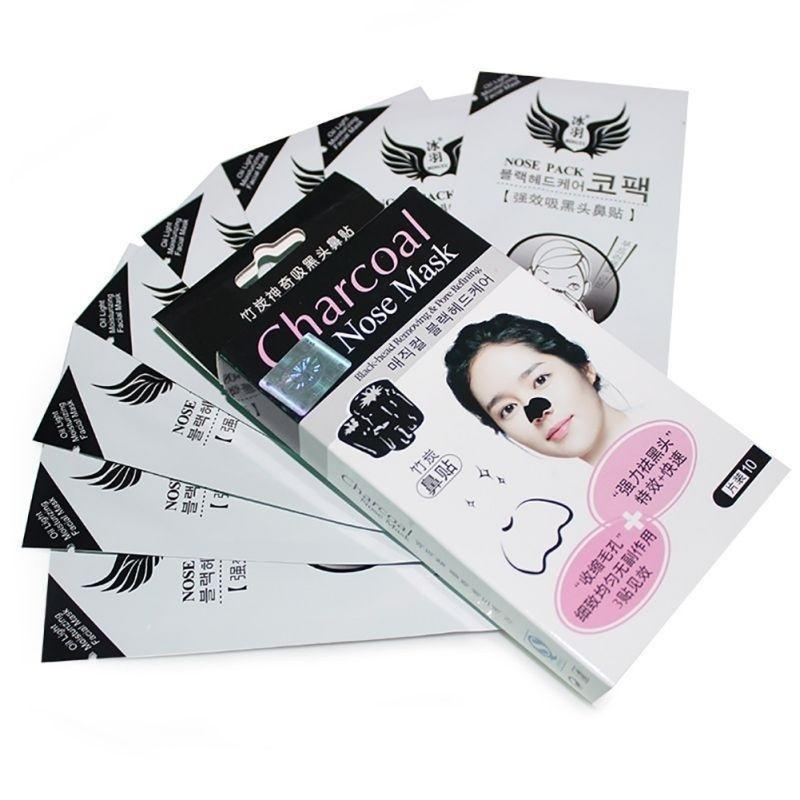 Nose mask blackhead strong cleaner moderate bamboo charcoal nose mask  striped cleaning pore peel off pack conk