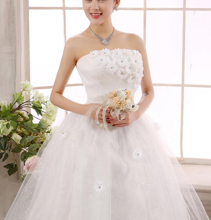 Vintage Lace Flower Strapless Body Slim Bridal Wedding Dress-buy at ...