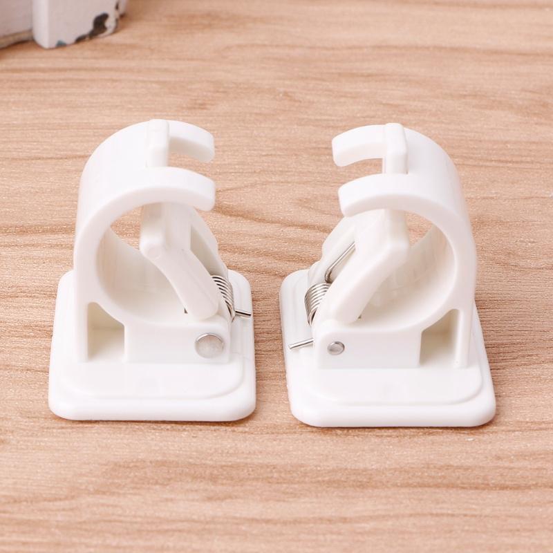 2Pcs Self Adhesive Curtain Rods White Hanger Crossbar Curtain Clips Wall Hooks