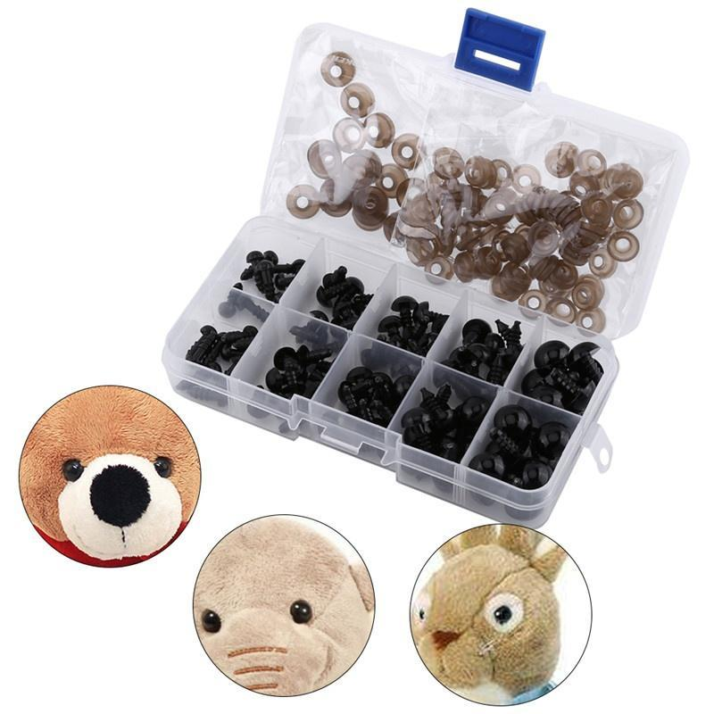5 Colors 12MM 100PCS Plastic Eyes and Gasket Safety Toy Eyes for Stuffed Animals