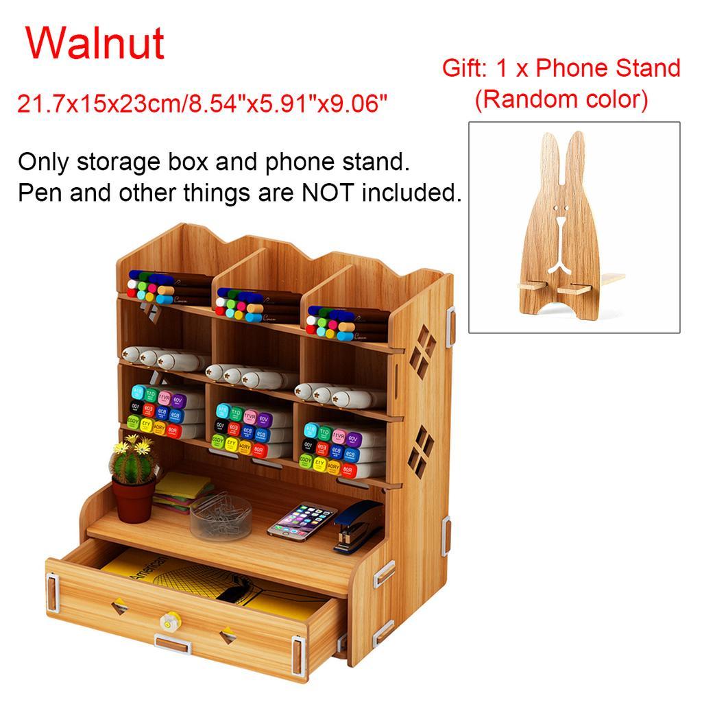 Wooden Desk Organizer Multi Functional Diy Pen Holder Box Desktop Stationary Home Office Supply Desktop Storage Rack With Gift Buy From 22 On Joom E Commerce Platform