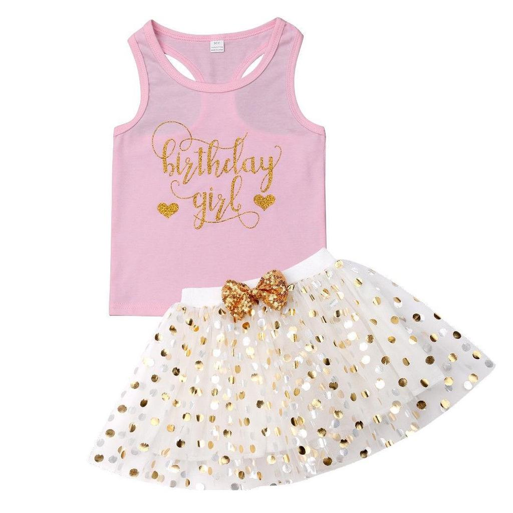 ONES Toddler Baby Kids Birthday Girl Tank Top with Polka Dot Bowknot Tutu Skirt Outfits