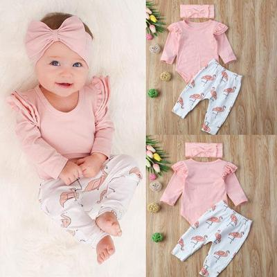 UK Toddler Newborn Baby Girl Tops Romper Bowknot Denim Pants 3Pcs Outfit Clothes