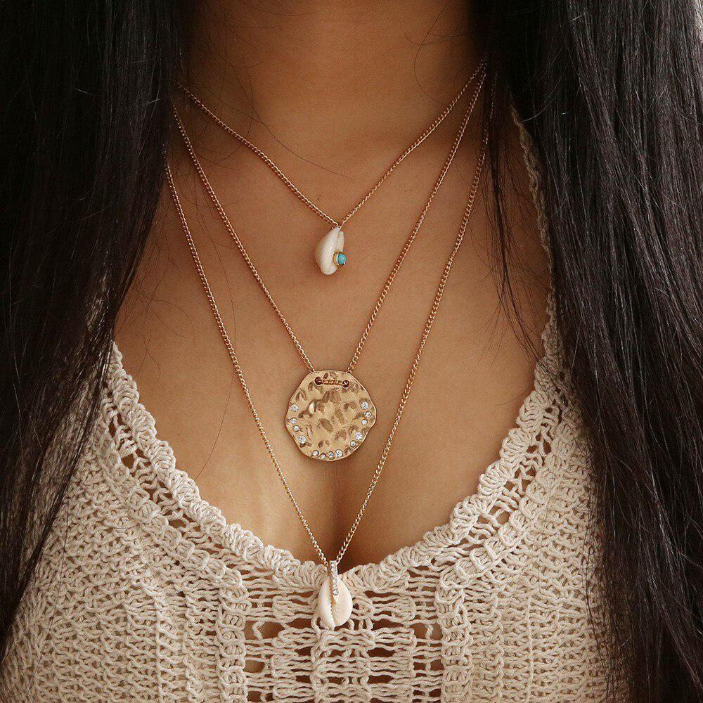 Vintage Charm Shell Pendant Multilayer Chain Boho Necklace Statement Choker
