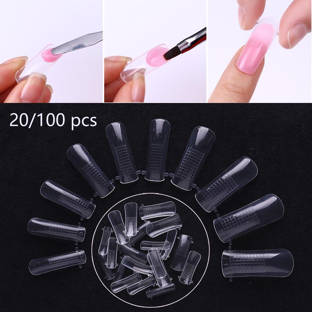 Формы для наращивание ногтей акрилгелем Nail Art UV Builder Poly, 20/100 шт,10 различных размеров фото