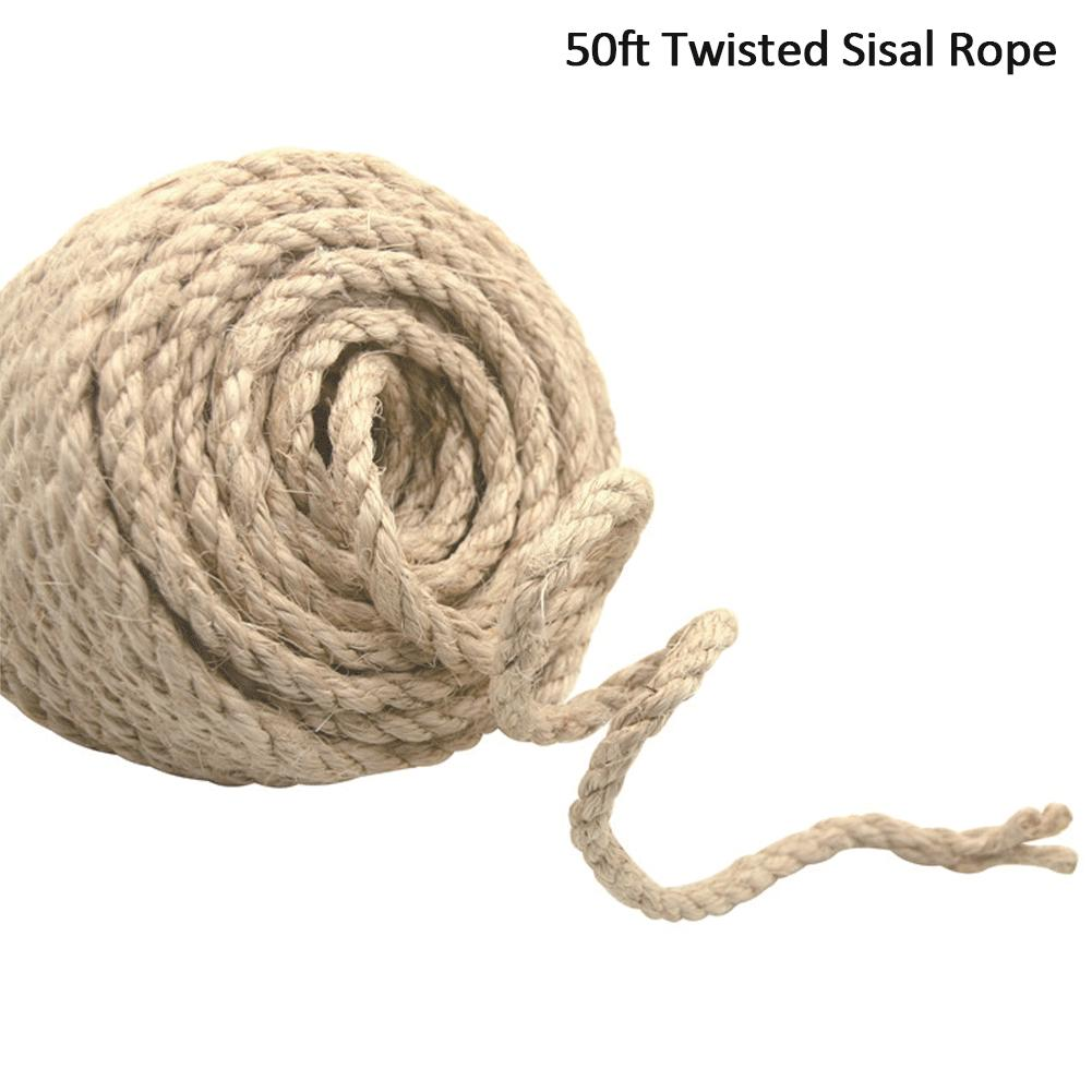 Twisted Burlap Jute Twine Rope Thick Natural Hemp Cord Sisal Rope String 4 Sizes