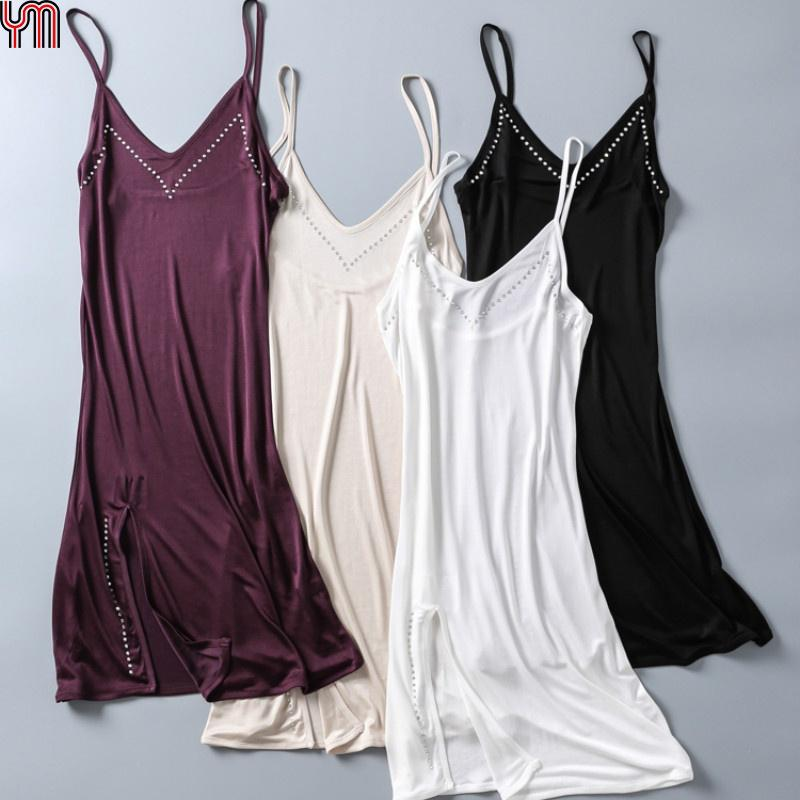 Details about  /Ladies Satin Dresses Slips Faux Silk Long Strappy Nightdress Petticoats Camisole