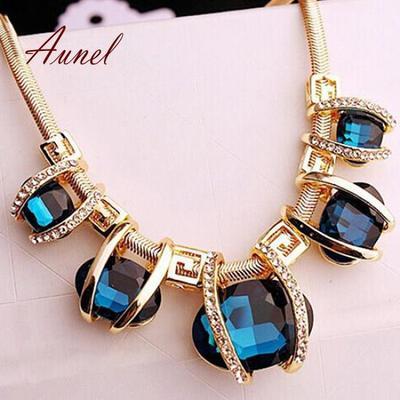 Women Crystal Oval Charm Pendant Chunky Statement Long Chain Bib Necklace Gift U