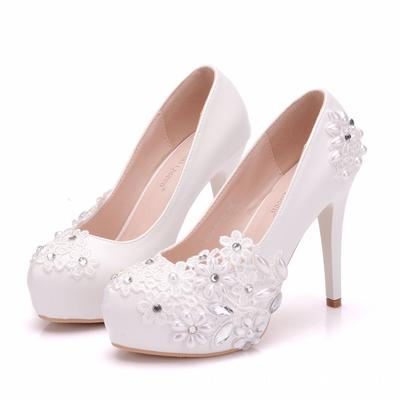 Buy cheap lace bridal shoes ivory — low prices, free
