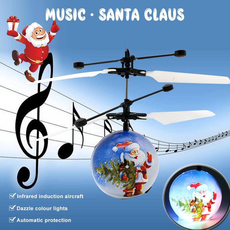 Electric RC Flying Santa Claus Infrared Induction Helicopter Aircraft LED Light