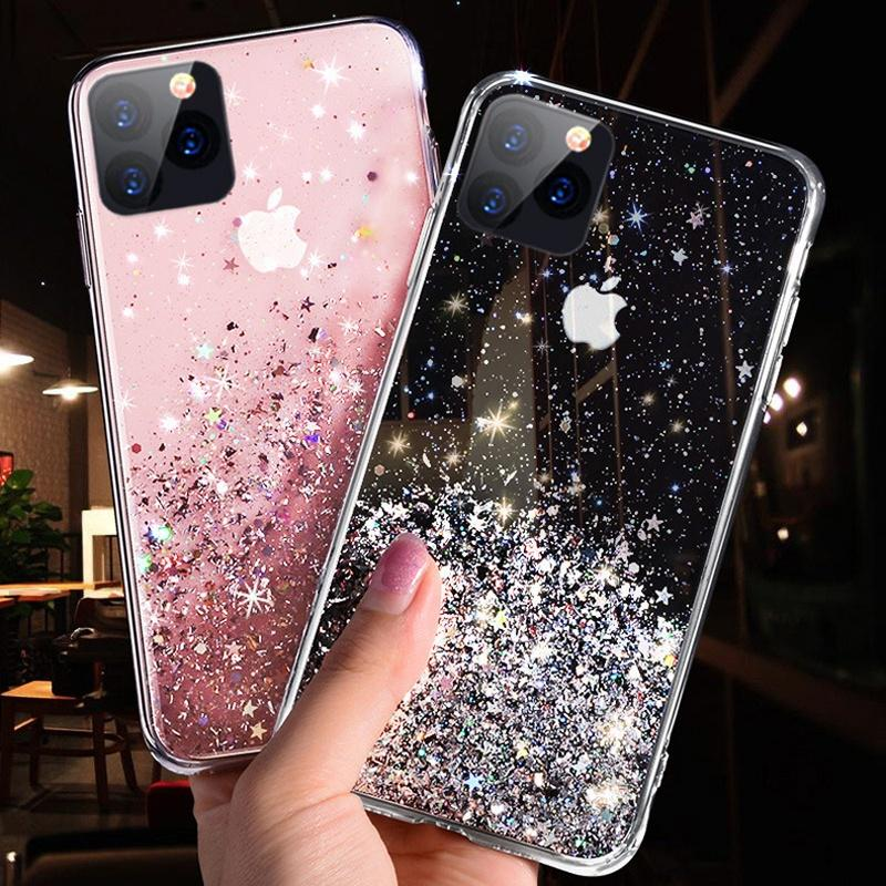 Bling Блеск блестки TPU Сияющие Прозрачные Случаи Телефон Дело iPhone 8 Плюс 7 Плюс 6 Плюс Плюс