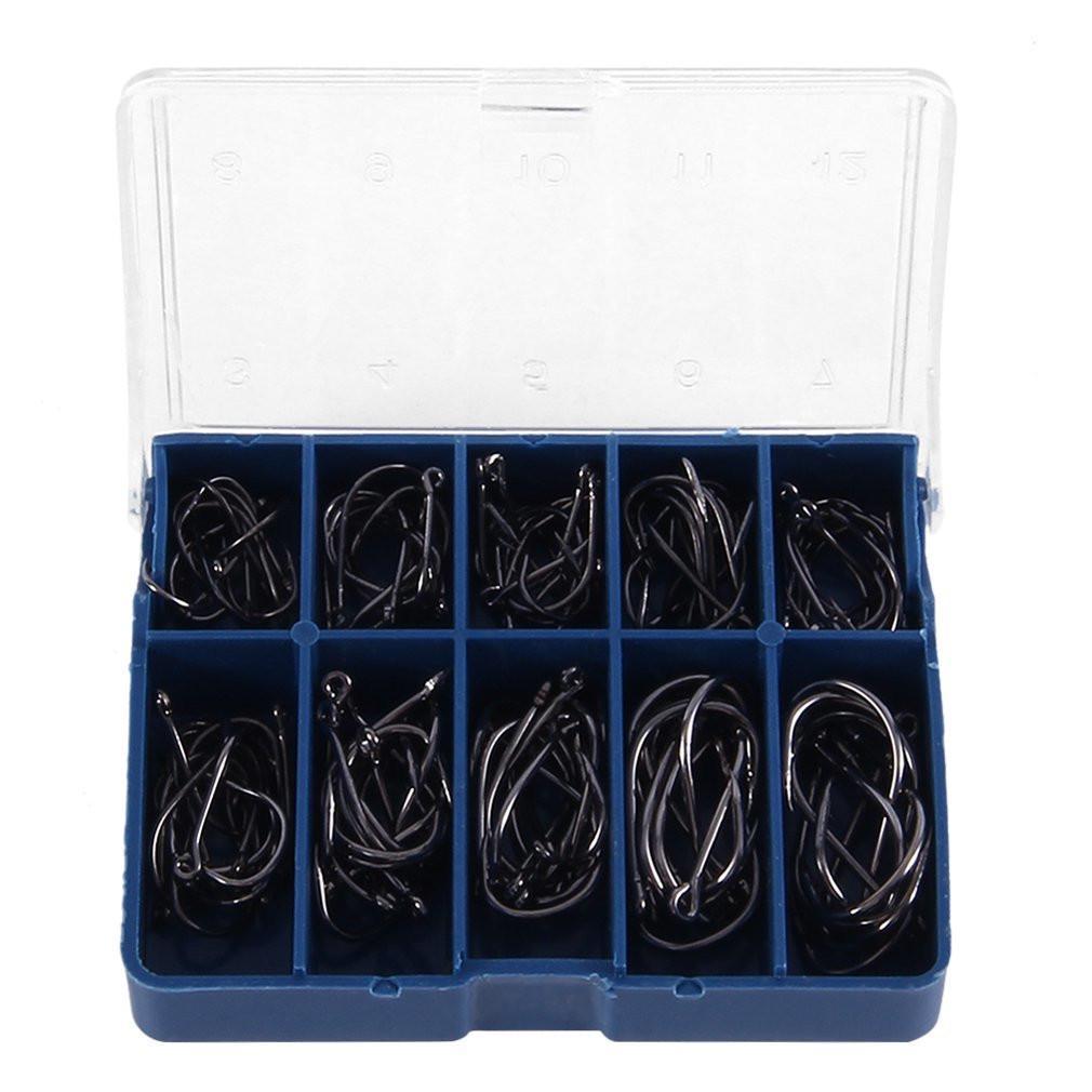 Прочный 1 набор 100 шт 10 размеров 3# 12 # черный серебристый рыболовные крючки с отверстие Карп рыболовных снастей бо rod халат парикмахерский черный с желтой каймой 5 размеров s 1 шт