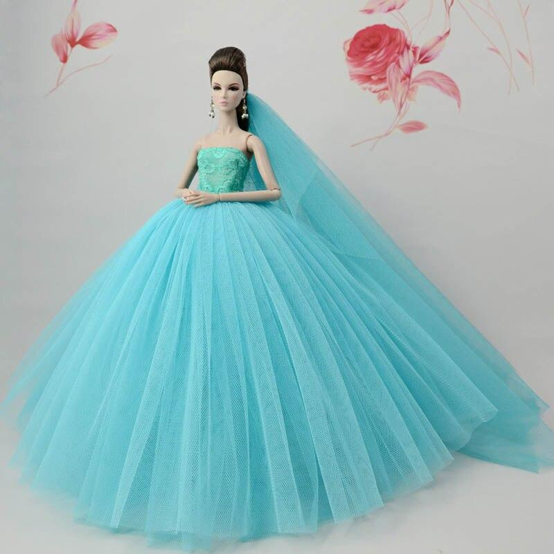 Dress for Princess Doll Clothes Handmade Long Tail Wedding Fashion Evening Party Outfit For Barbie Doll Accessories