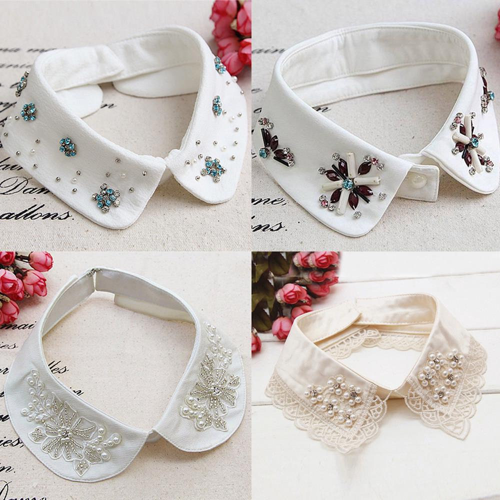 Fashion Women Choker Necklace Detachable Lapel Shirt Fake False Collar H