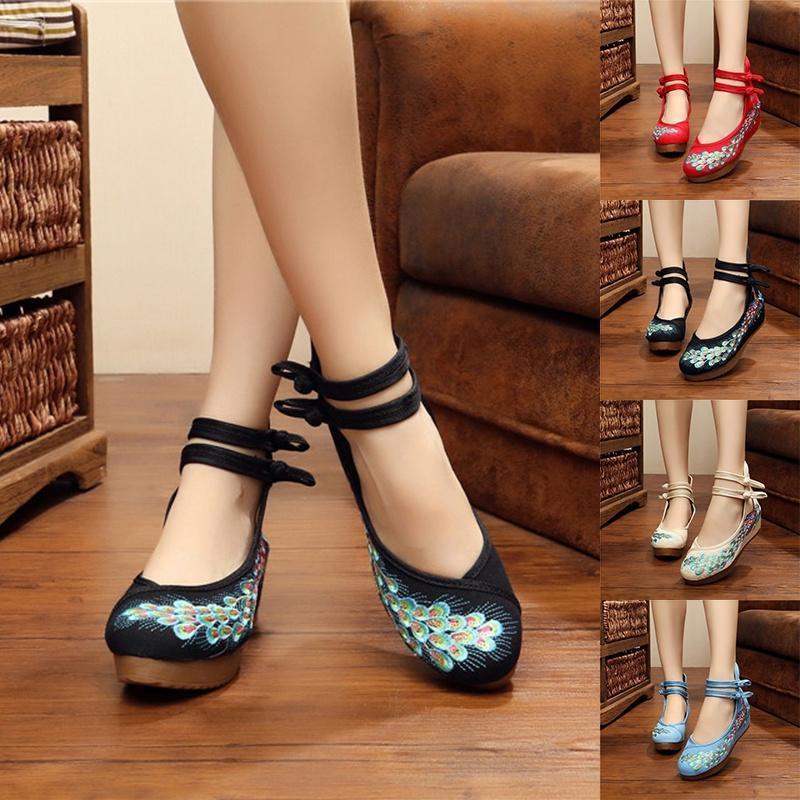 5厘米亮片孔雀 钉珠绣 牛筋底绣花女单鞋 布鞋 舞蹈休闲鞋