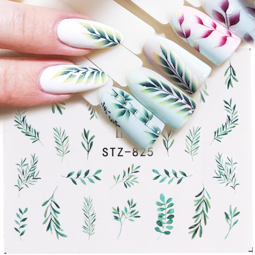 Популярные Greenery ногтей наклейки Письмо Роза Ногти Искусство водонепроницаемый Decals Слайдер Ногти Декор