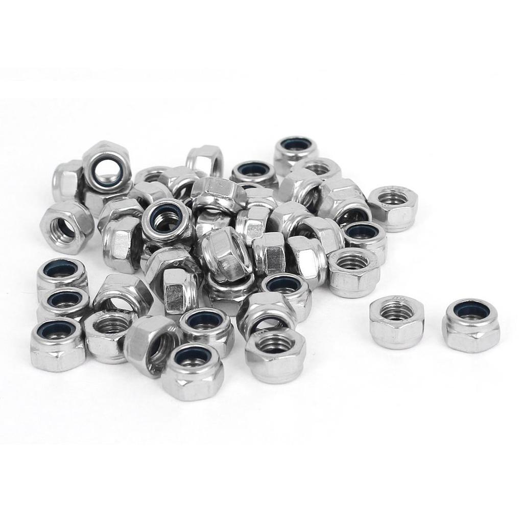 M8x1.25mm Stainless Steel Nylock Nylon Insert Hexagon Lock Nuts 50pcs