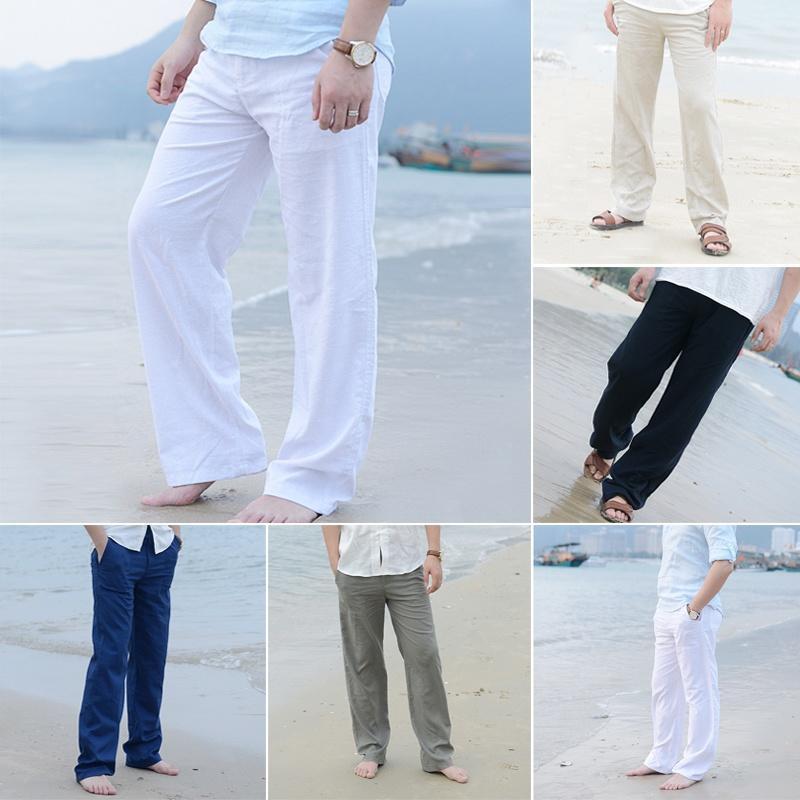 Случайные штаны белье мужские летние брюки прямые брюки белый льняной эластичный – купить по низким ценам в интернет-магазине Joom