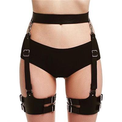 Women/'s PU Leather Harness Lingerie Belts Body Bondage Bow-knot Leg Suspenders