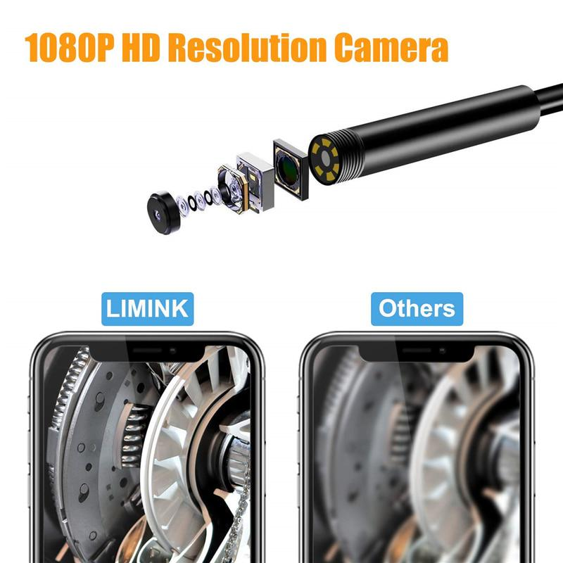 15m//49.2Ft LIMINK WiFi Borescope with IP67 Waterproof Tablet Wireless Endoscope Camera 1080P HD Inspection Snake Camera for Android and iOS Smartphone Samsung iPhone