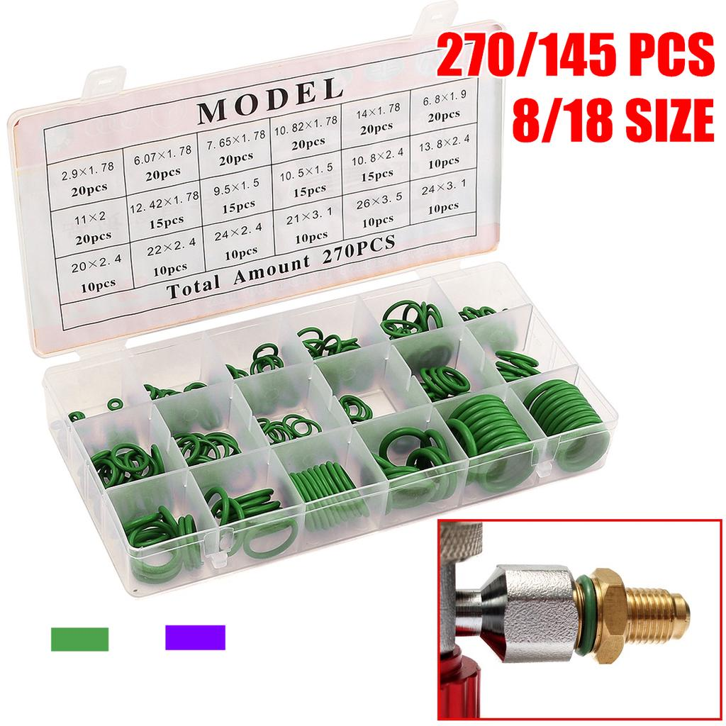 Green 270pcs Compressor O Rings 18 Sizes Car Air Conditioning O-Ring Assortment Rubber Seals Tool Kit with Storage Container 270 pcs Assortment Kit