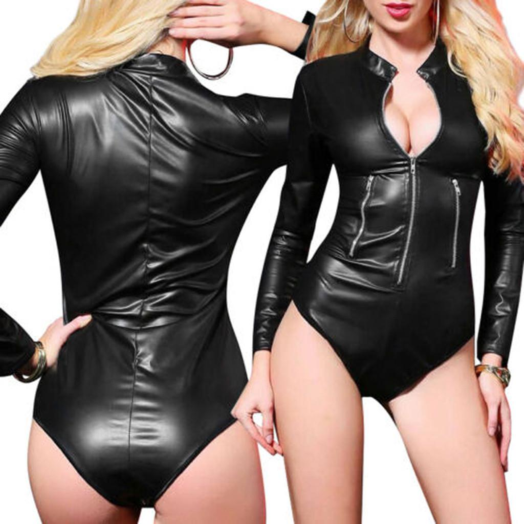 Womens Wet Look  Backless Leotard Sleevless Bodysuit Jumpsuit Romper Club Party
