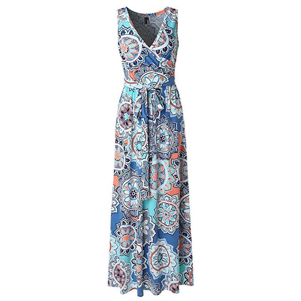 Womens Casual Floral Printed Maxi Long Shirt Dress Summer Holiday Beach Sundress
