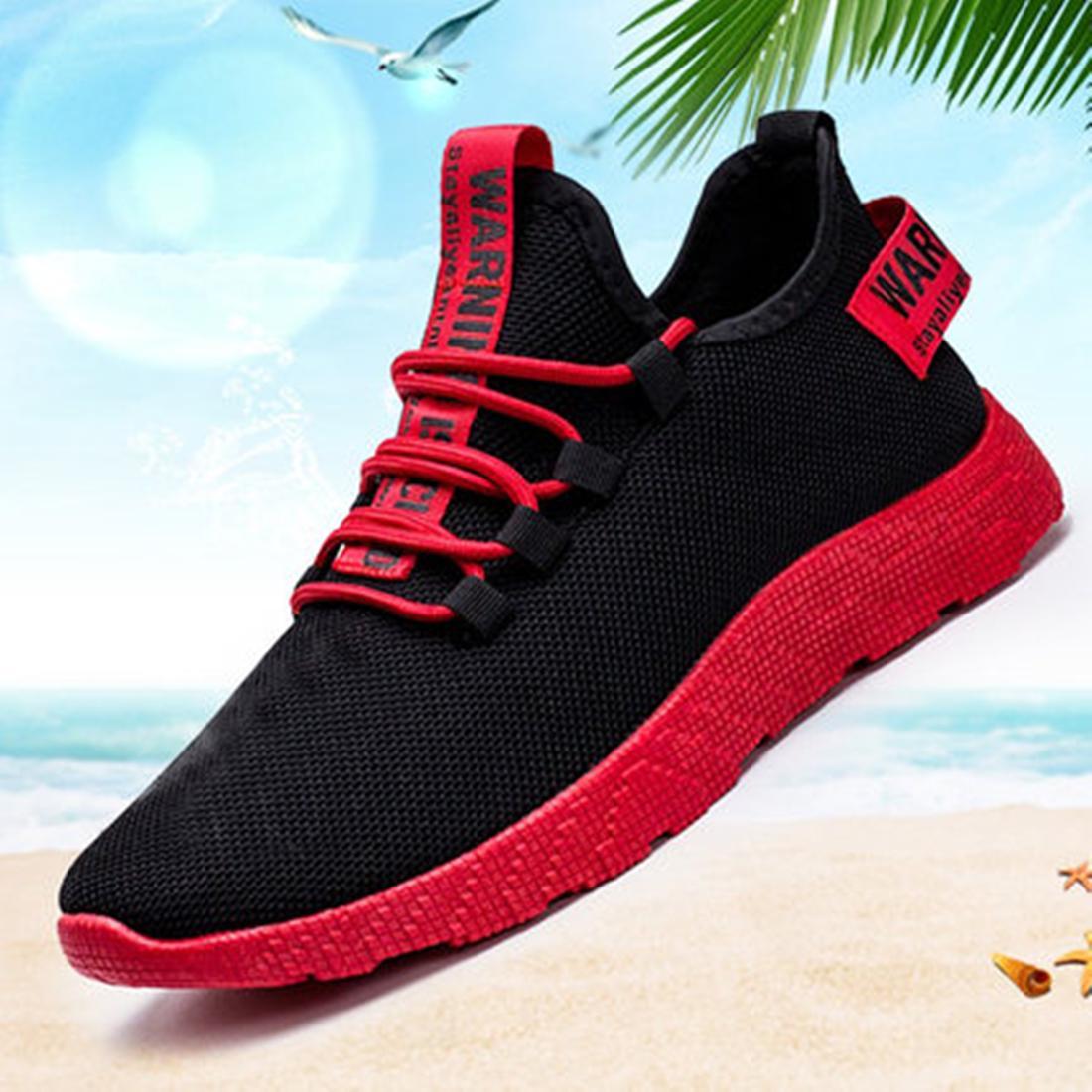 Мужские лёгкие кроссовки из дышащего материала с контрастными шнуровкой и подошвой. Различные варианты цвета фото