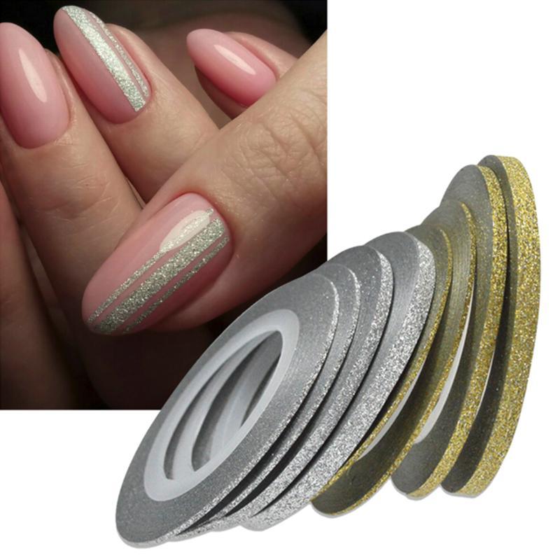 Блеск ногтей Золотая Серебряная лента линии полосы декор инструменты 1mm2mm3mm ногтей наклейки DIY Аксессуары фото