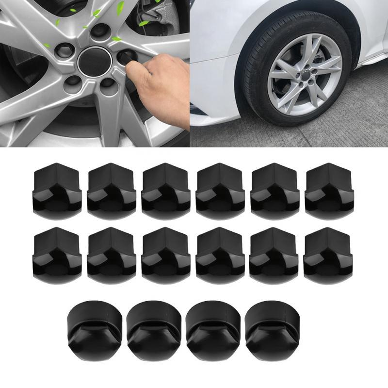 20x 17mm Black Nut Car Wheel Hub Screw Protection Anti-theft Cover Cap For Audi