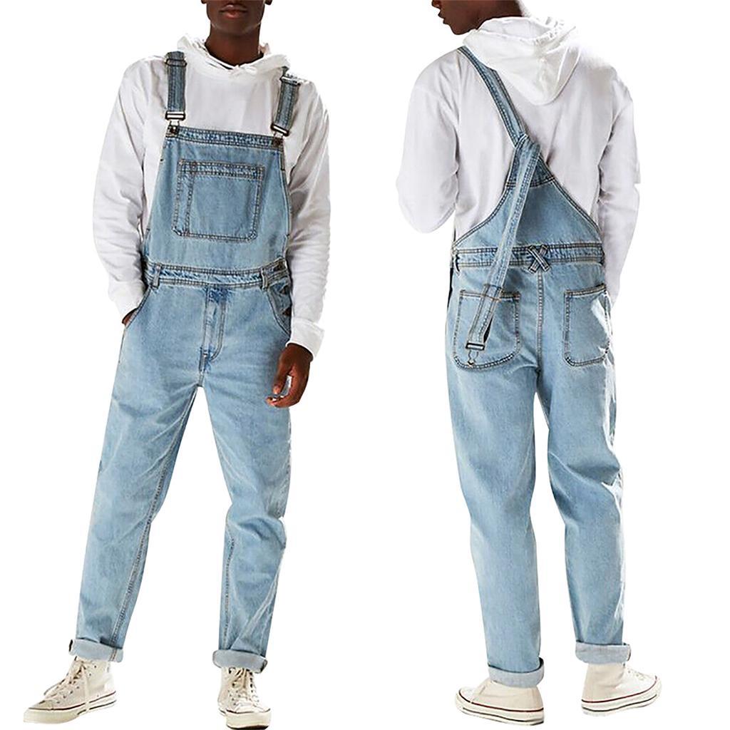 Vintage Mens Harem Pants Suspender Trouser Jumpsuit Dungarees Baggy Bib Overalls