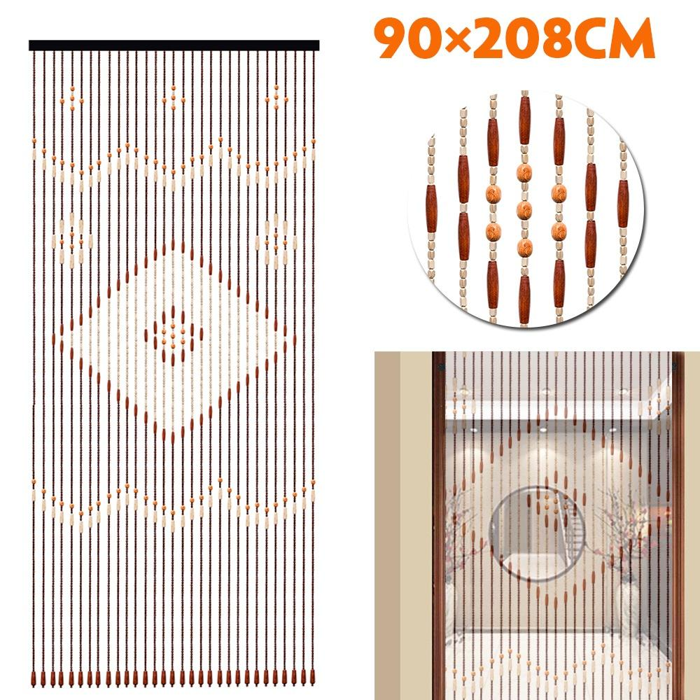 90x220cm 31 Line Wooden Bead Curtains Fly Screen Porch For Bedroom Living Room