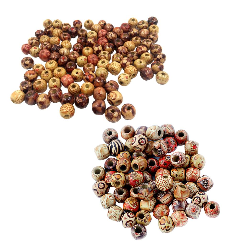 200x Unfinished Natural Wood European Beads Large Hole Wooden Charms Spacer 12mm